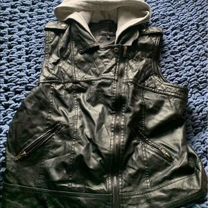 Black Hooded Faux Leather Vest